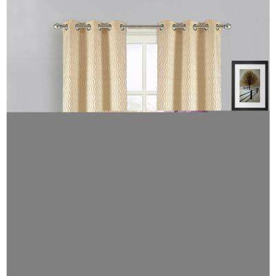 84 in. Swirl Grommet Curtain Panel Pair in Gold (2-Pack)