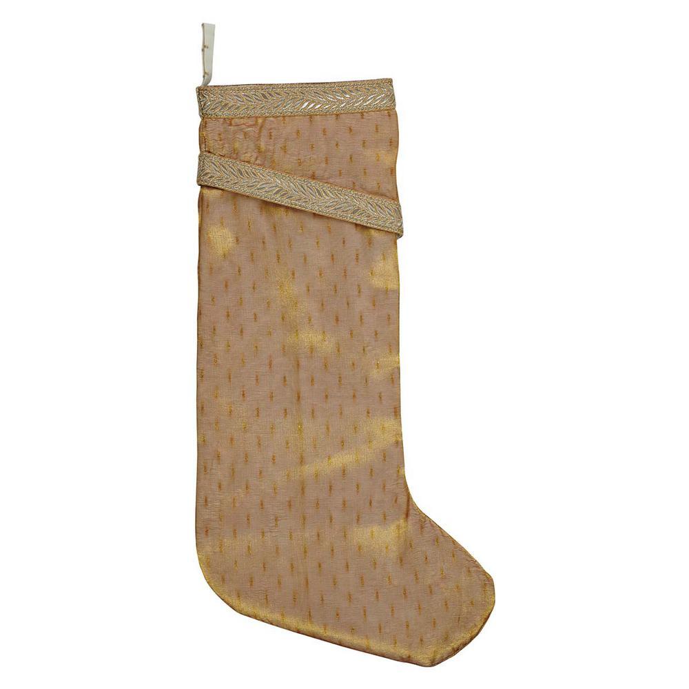 20 in. Cotton/Nylon Tinsel Gold Yellow Glam Christmas Decor Stocking