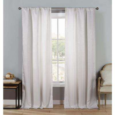 Solid White Polyester Blackout Pole Top Window Curtain 37 in. W x 63 in. L (2-Pack)