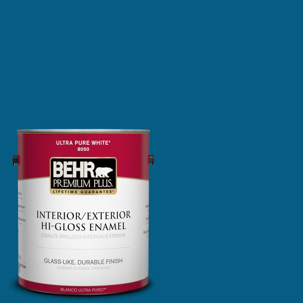 BEHR Premium Plus 1-gal. #S-H-550 Sapphire Sparkle Hi-Gloss Enamel Interior/Exterior Paint