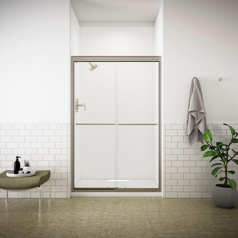 KOHLER Fluence 47-5/8 in. x 70-5/16 in. Semi-Frameless Sliding Shower Door in Matte Nickel with Clear Glass