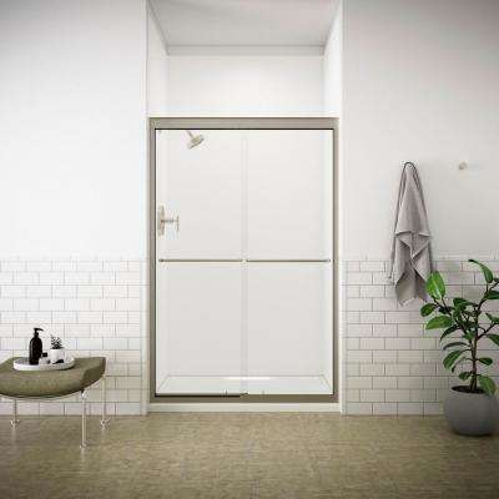 Fluence 47-5/8 in. x 70-5/16 in. Semi-Frameless Sliding Shower Door in Matte Nickel with Handle