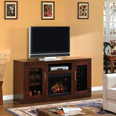 Chimney Free 67 in. Triple Function Media Console Electric Fireplace in Empire Cherry