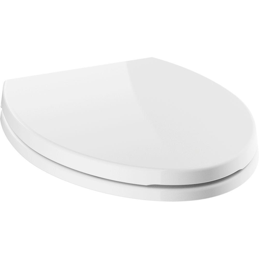 Morgan Elongated Closed Front Toilet Seat with NoSlip Bumpers in White