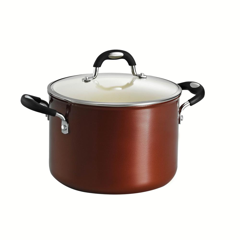 Tramontina Style Ceramica 6 Qt Aluminum Ceramic Nonstick Stock Pot In Copper With Glass Lid 80110 051ds The Home Depot