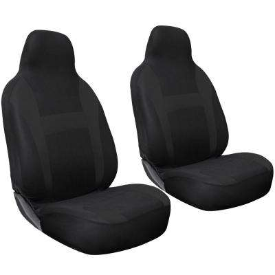 Polyester Seat Covers 26 in. L x 21 in. W x 48 in. H 2-Piece Seat Cover Set Solid Black