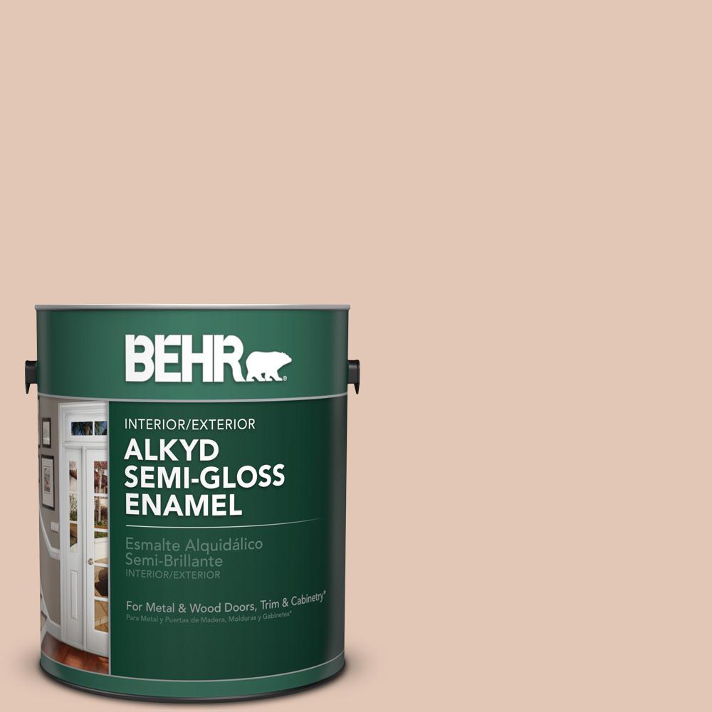 BEHR 1 gal. #S210-2 Tapestry Beige Semi-Gloss Enamel Alkyd Interior/Exterior Paint by