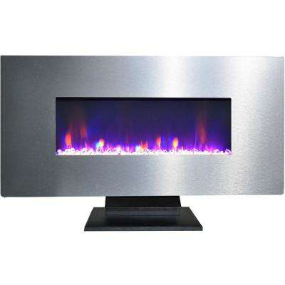 42 in. Electric Fireplace with Multi-Color Crystal Rock Display and Metallic Stainless Steel Frame