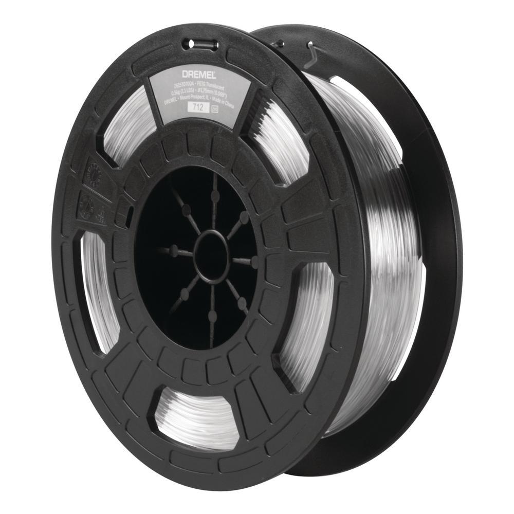 1.75 mm Dia 0.5 kg Spool Weight PETG 3D Printer Filament in Translucent
