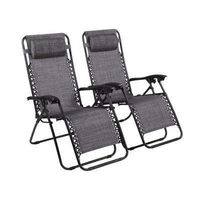 Gray Zero Gravity Recliner Metal Sling Outdoor Lounge Chair (2-Pack)