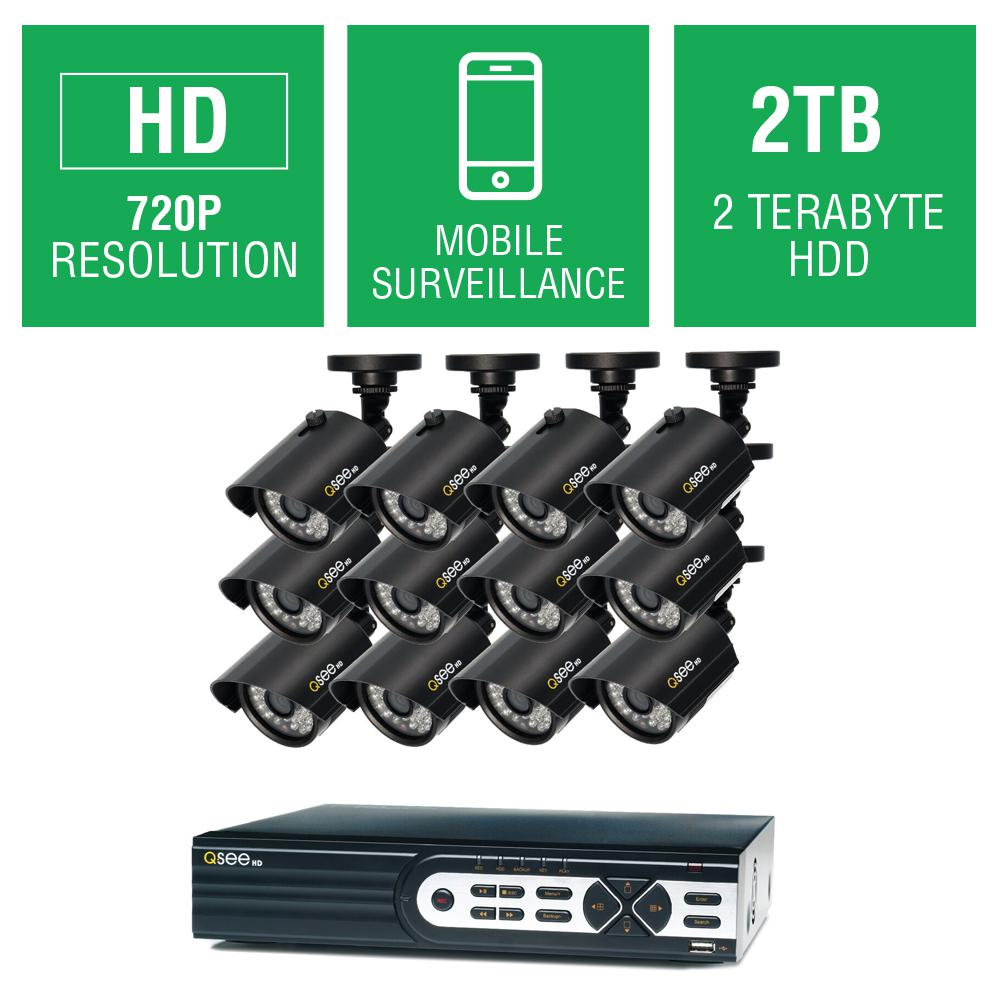 16-Channel 720p 2TB Full HD Surveillance System with (12) 720p Bullet