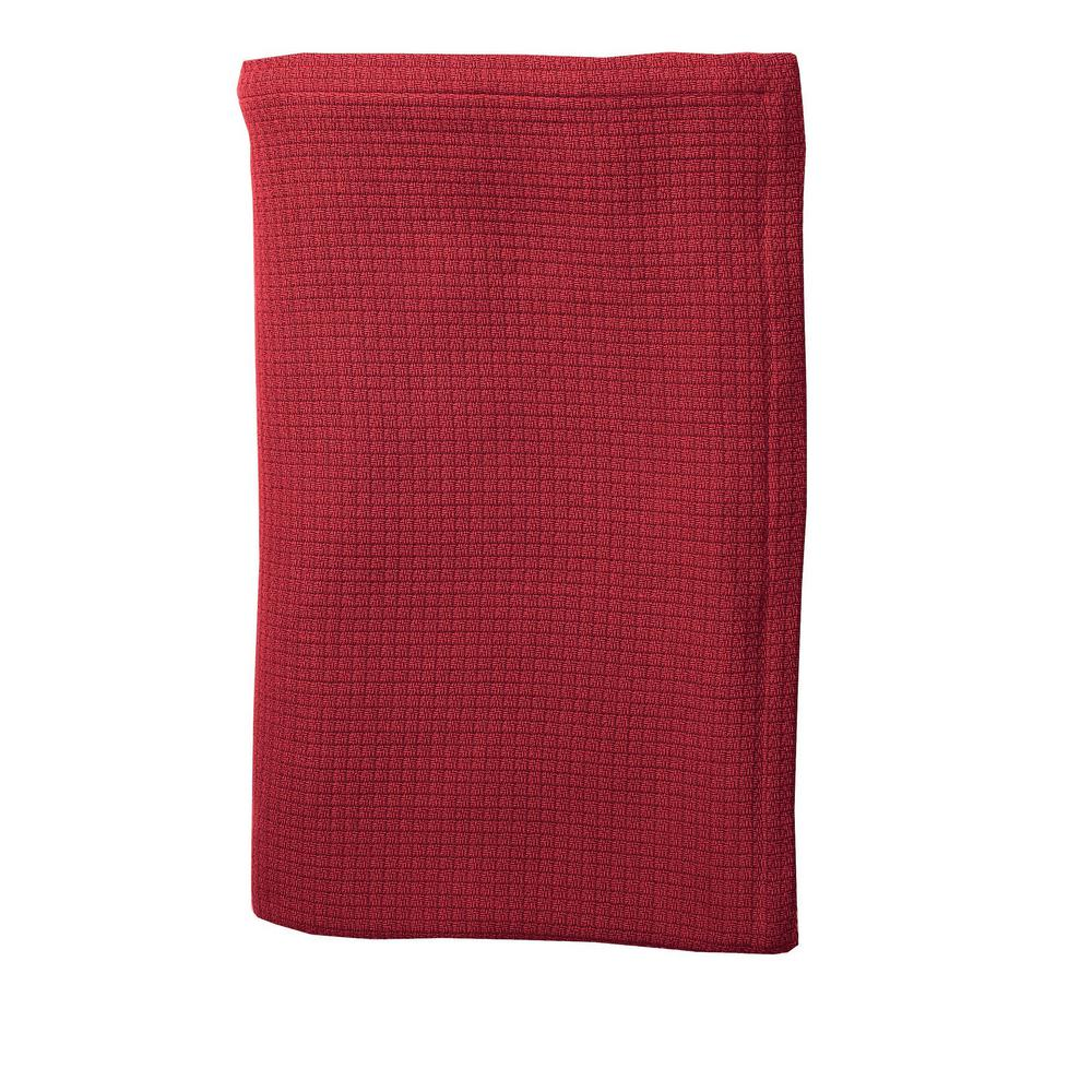 Cotton Weave Red Twin Blanket