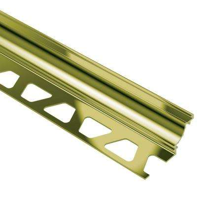 Dilex-AHK Polished Brass Anodized Aluminum 5/16 in. x 8 ft. 2-1/2 in. Metal Cove-Shaped Tile Edging Trim