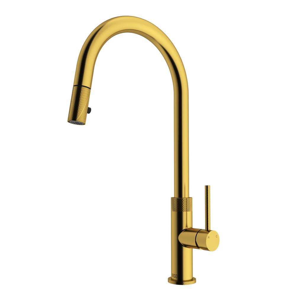 Bristol Single-Handle Pull-Down Sprayer Kitchen Faucet in Matte Gold