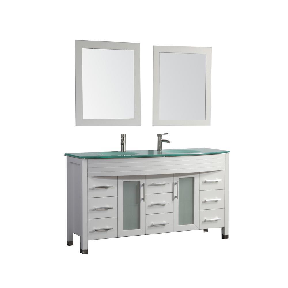 Figi 63 in. W x 22 in. D x 36 in. H Vanity in White with Glass Vanity Top in Aqua with Aqua Basins and Mirrors