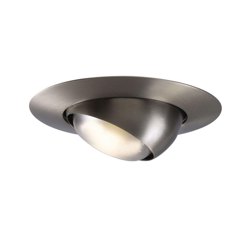Halo 6 In Satin Nickel Recessed Ceiling Light Trim With Adjule Eyeball