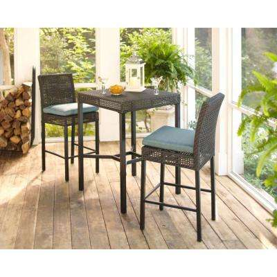 Fenton 3-Piece Wicker Outdoor Patio High Bar/Bistro Set with Peacock Java Cushion