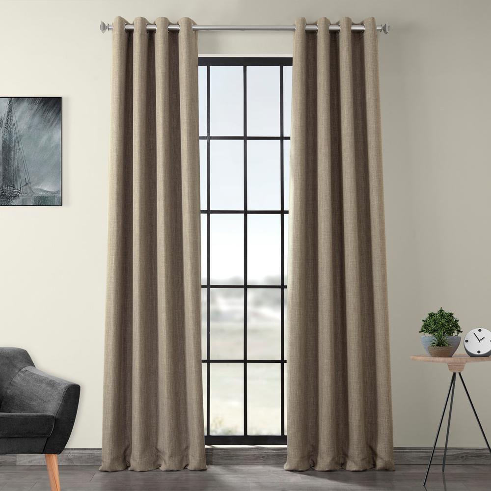 Mink Gray Faux Linen Grommet Blackout Curtain - 50 in. W x 96 in. L