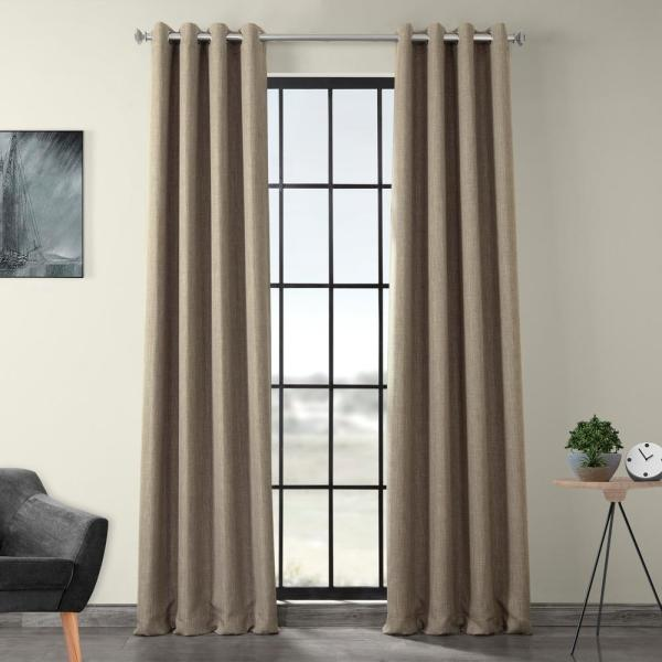Exclusive Fabrics Furnishings Mink Gray Faux Linen Grommet Blackout Curtain 50 In W X 120 In L Bocln18511 120g The Home Depot
