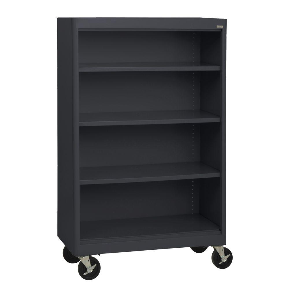 Radius Edge Black Mobile Steel Bookcase