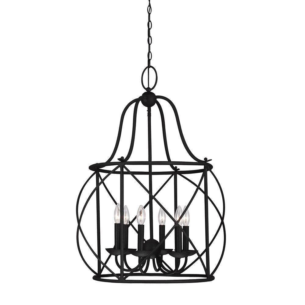 Sea Gull Lighting Turbinio 22.25 in. W x 31.25 in. H 6-Light Textured Black Hall/Foyer Medium Rustic Cage Metal Indoor Pendant