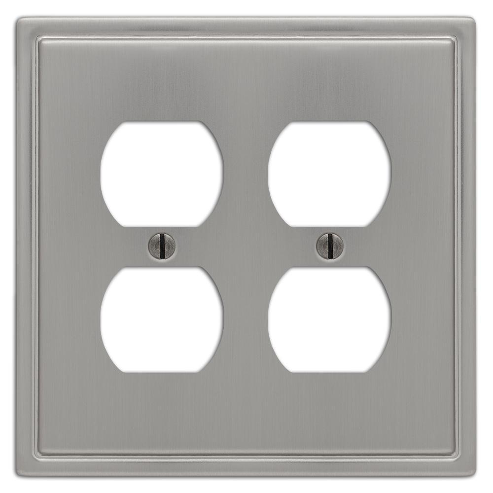 Moderne 2 Gang Duplex Steel Wall Plate - Brushed Nickel