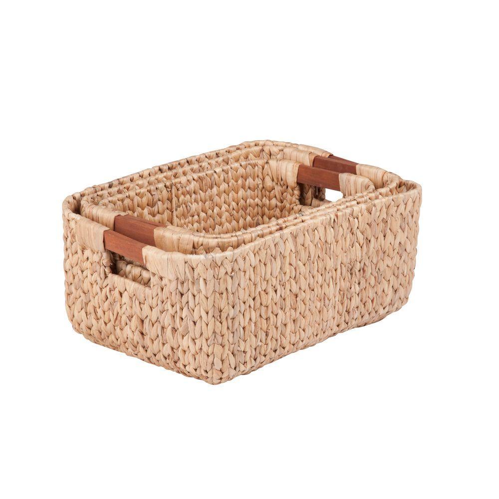 Water Hyacinth Basket Set with Wood Handles (3-Piece)