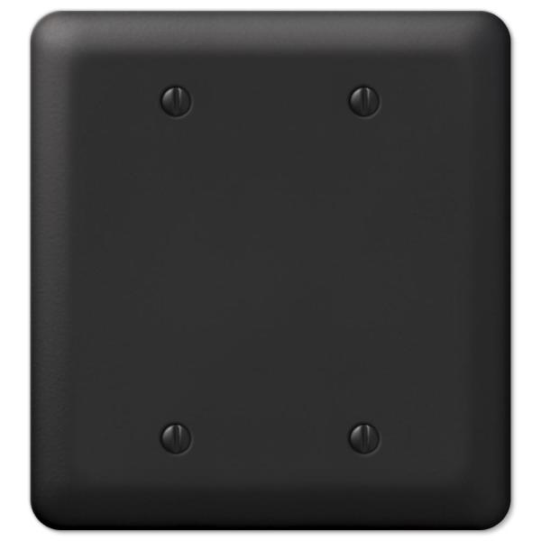 Declan 2 Gang Blank Steel Wall Plate - Black