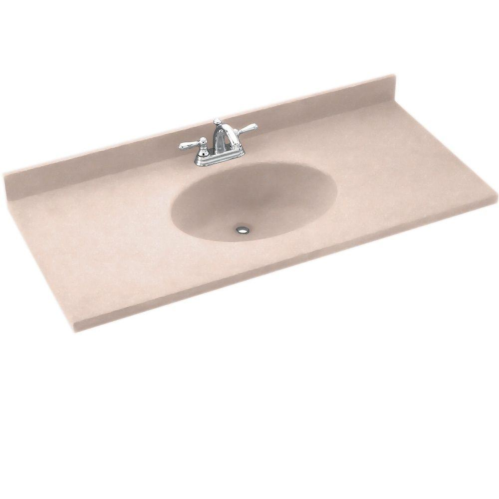 Swanstone Chesapeake 25 in. Solid Surface Vanity Top with Basin in Tahiti Rose-DISCONTINUED