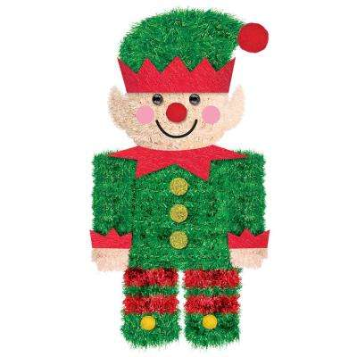 6.5 in. Christmas Elf Tinsel 3D Decoration (5-Pack)