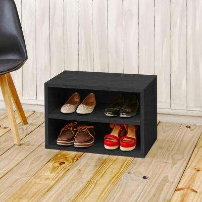 Blox System Eco zBoard Tool Free Assembly Divider Rectangle Shelf Stackable Modular Bookcase Storage Shelf in Black