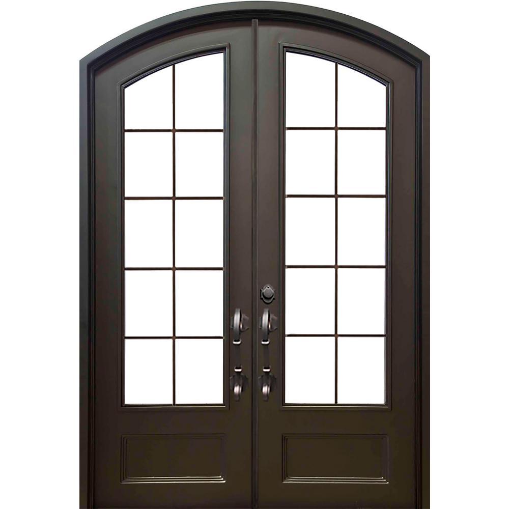 74 in. x 97.5 in. Eyebrow Key Largo Dark Bronze 3/4 Lite Painted Wrought Iron Prehung Front Door (Hardware Included)