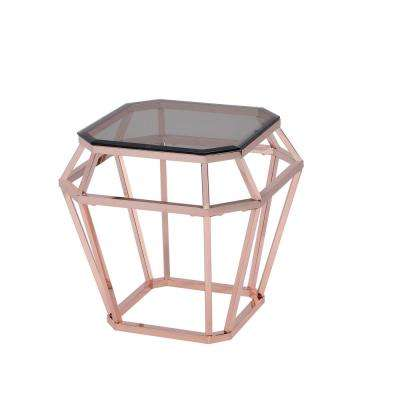 Clifton Smoky Glass and    Rose Gold End Table