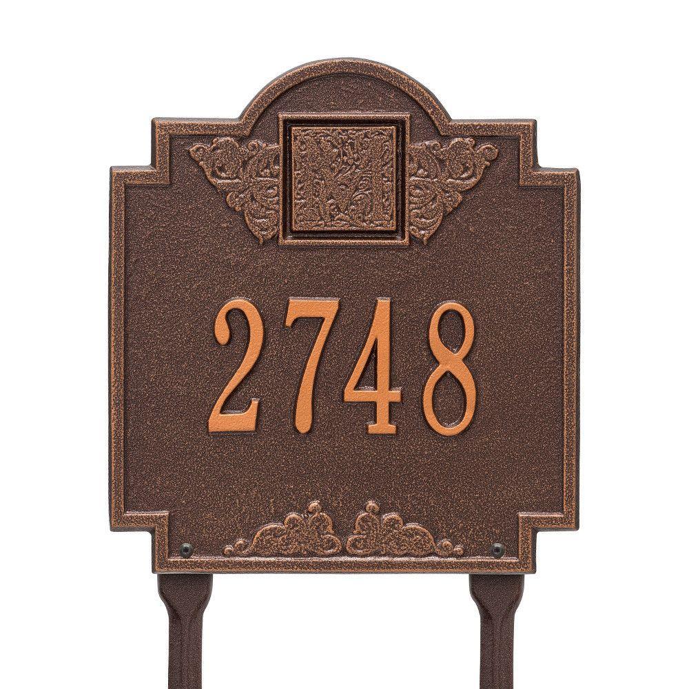 Monogram Standard Lawn Square Antique Copper 1-Line Address Plaque