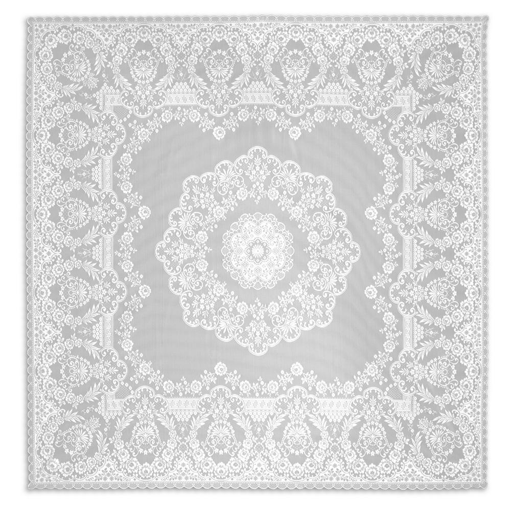 Filigree Square White Polyester Tablecloth