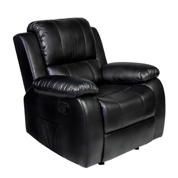 Relaxzen Clarkson Black PU Leather Massage Rocker Recliner 60-7030M05