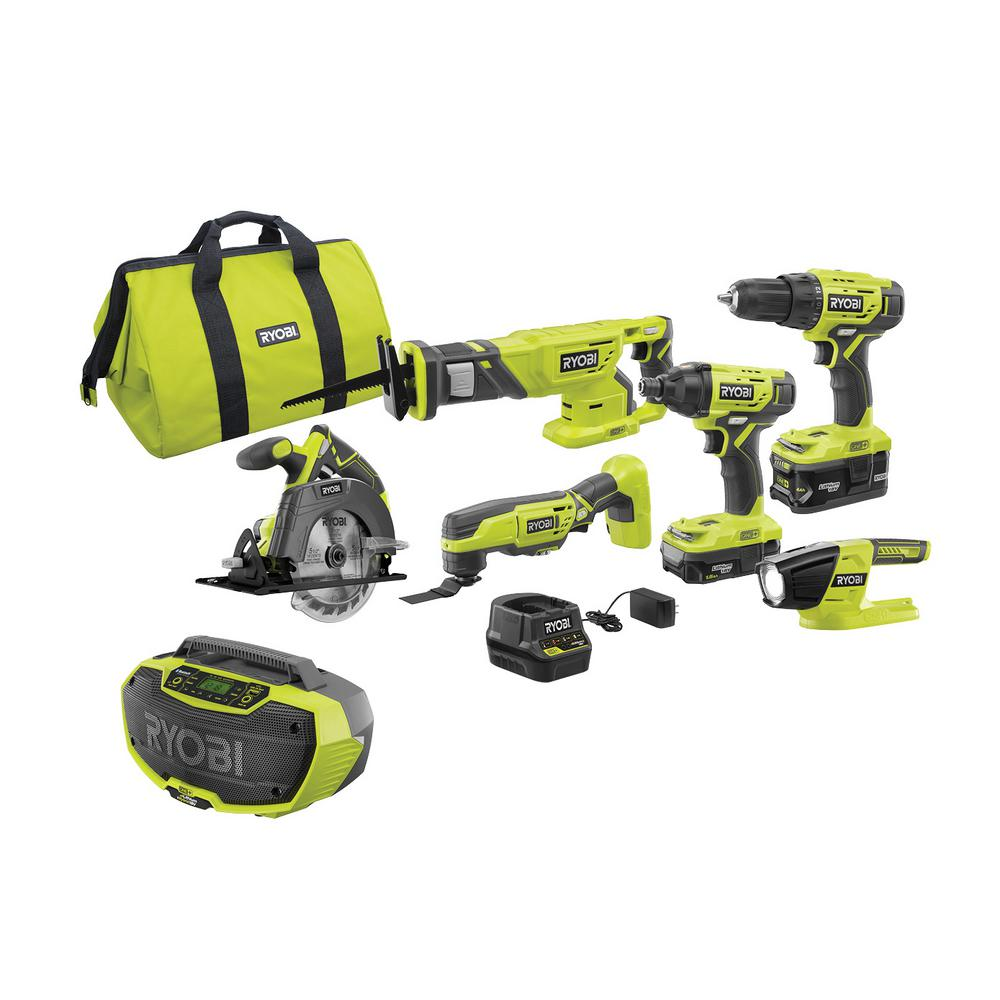 RYOBI 18-Volt ONE+ Cordless 6-Tool Combo Kit with (2) Batteries, 18-Volt Charger, Bag, and Hybrid Stereo