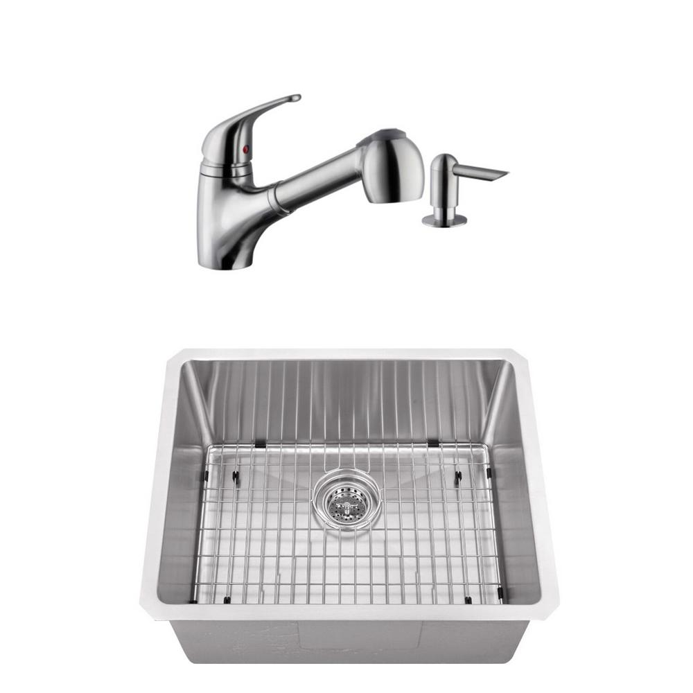 Cahaba Undermount Stainless Steel 23 in. Radius Corner Single Bowl Bar and Prep Sink with Brushed Nickel Faucet