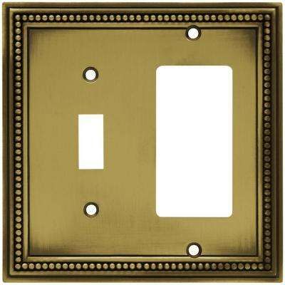 Beaded Decorative Switch and Rocker Switch Plate, Tumbled Antique Brass