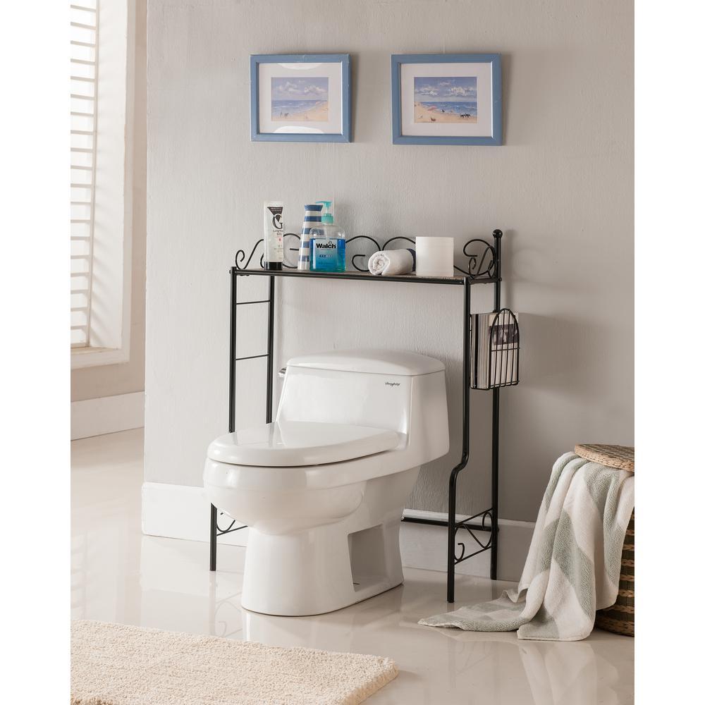 stunning bathroom shelves over toilet storage | Kings Brand Furniture Black Freestanding Etagere Bathroom ...