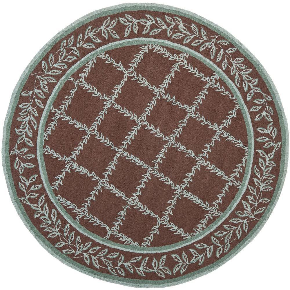 safavieh chelsea brown blue 4 ft x 4 ft round area rug hk230g 4r the home depot. Black Bedroom Furniture Sets. Home Design Ideas