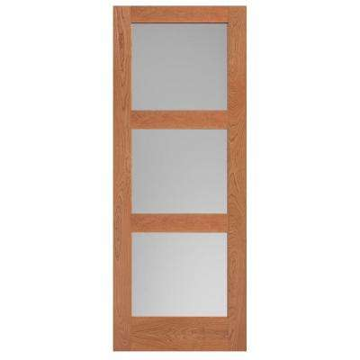 36 in. x 84 in. Cherry Veneer 3-Lite Equal Solid Wood Interior Barn Door Slab