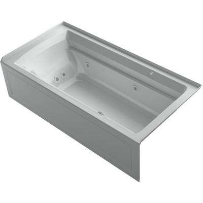 Archer 72 in. Right-Hand Drain Rectangular Apron Front Whirlpool and Air Bath Bathtub in Ice Grey
