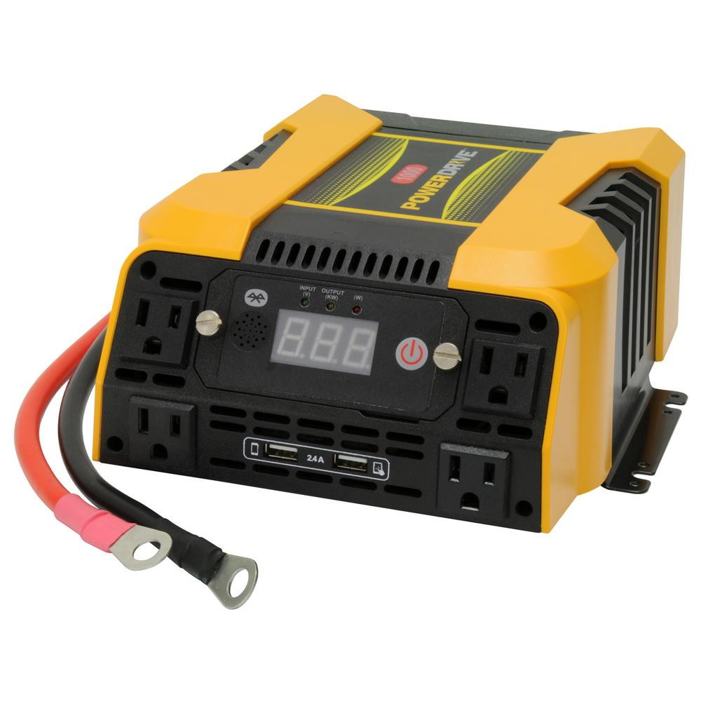 powerdrive 1000 watt power inverter with 4 ac 2 usb app with rh homedepot com Club Car Power Drive Charger Powerwise Battery Charger Wiring Diagram