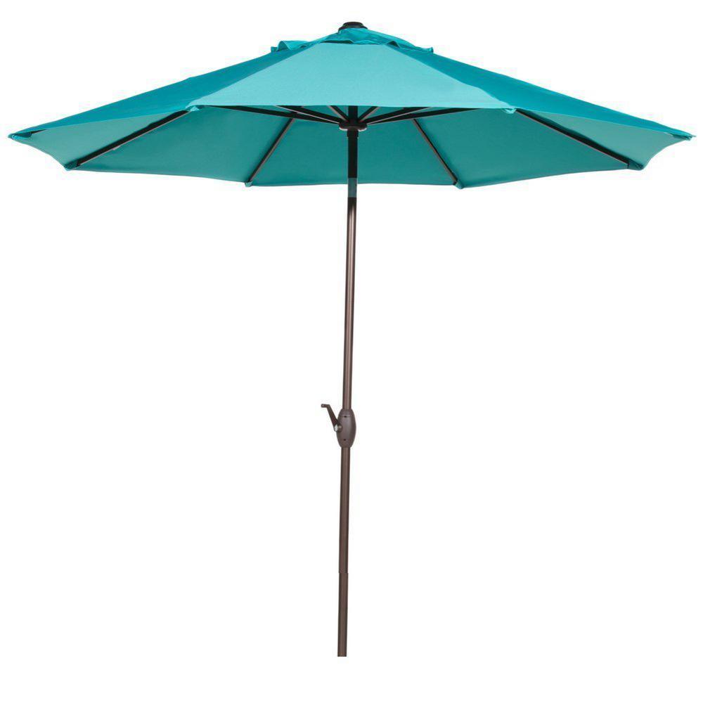 9 ft. Sunbrella Fabric Outdoor Table Umbrella with Auto Tilt and Crank Patio Umbrella in Turquoise