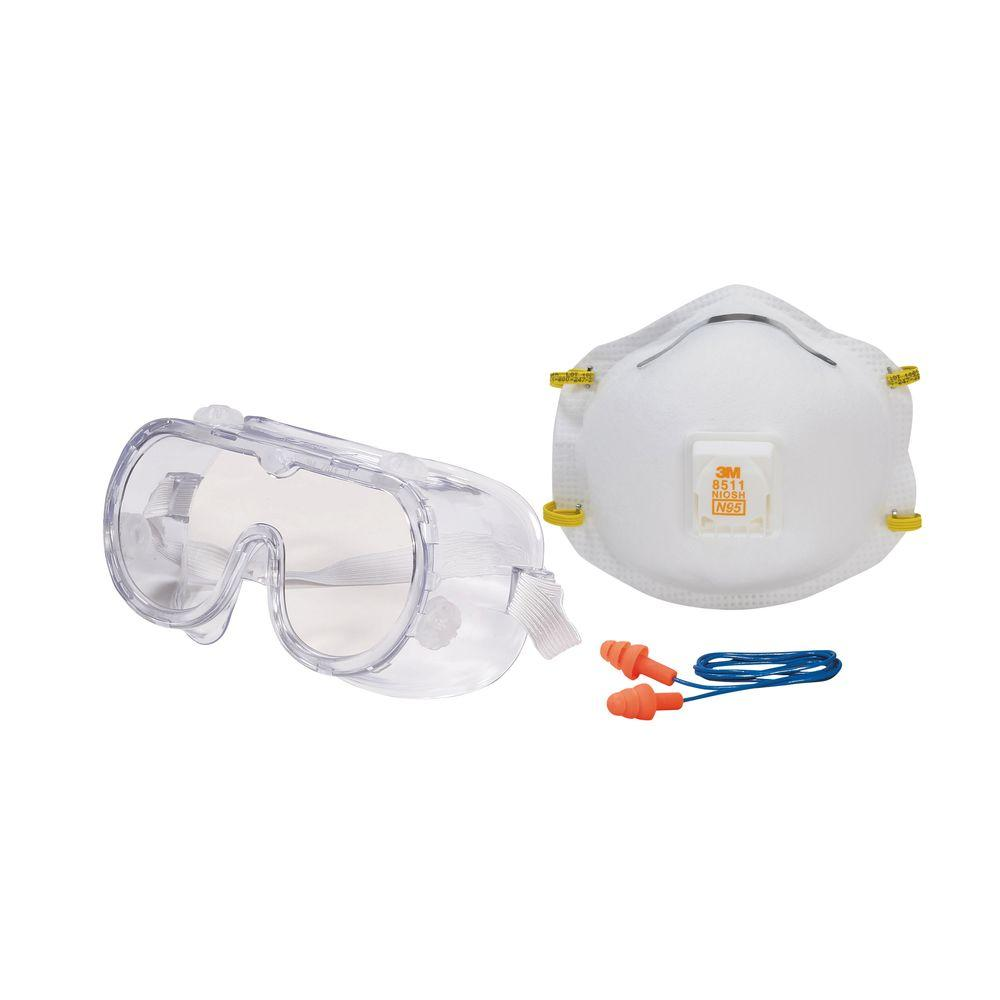 Professional Safety Kit with Valve (1 Respirator, 1 Pair of Earplugs,
