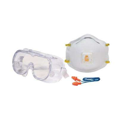 Professional Safety Kit with Valve (1 Respirator, 1 Pair of Earplugs, 1 Pair of Safety Goggles) (Case of 6)