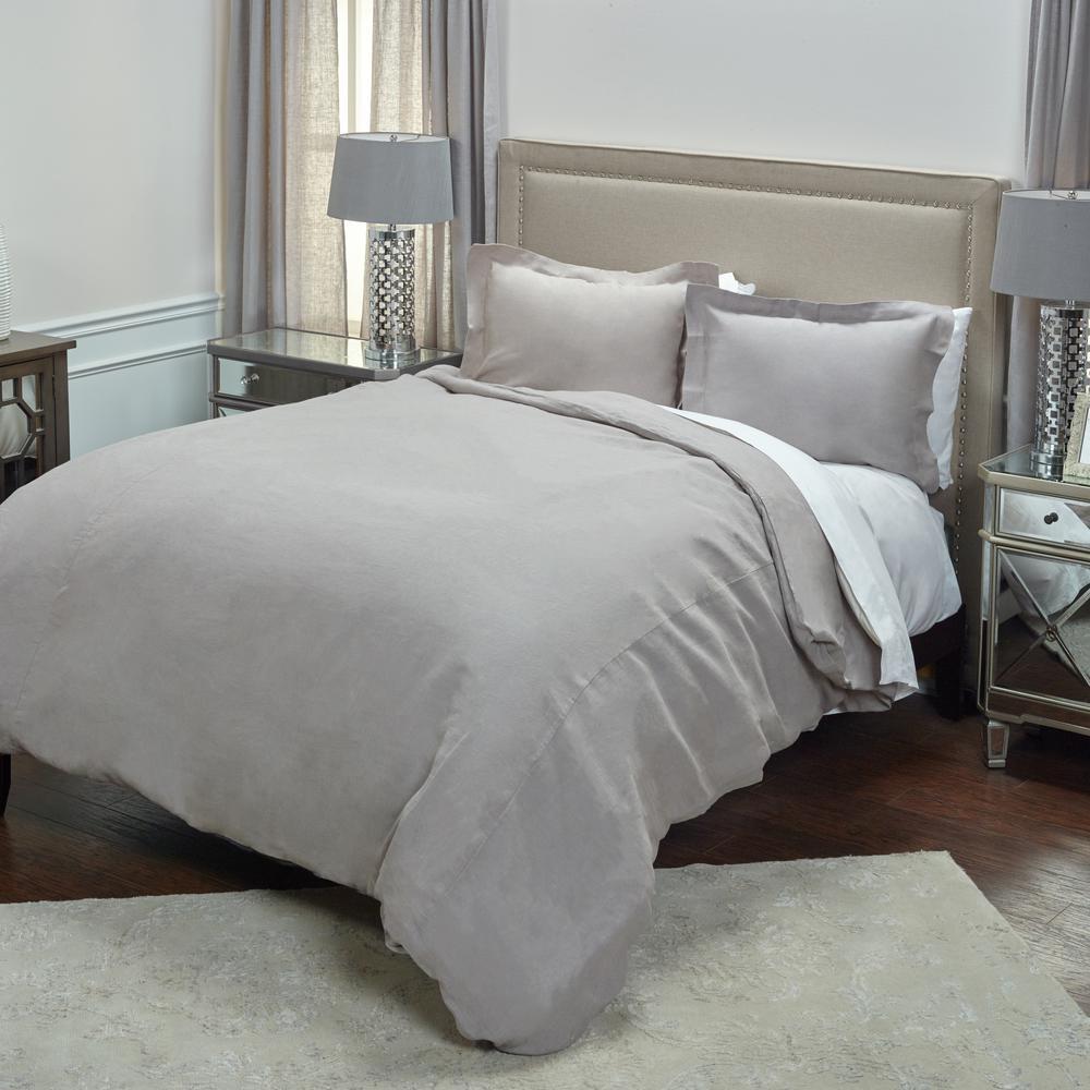 Silver Solid Pattern Queen Linen Duvet Bedding