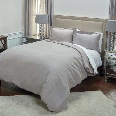 Silver Solid Queen Linen Duvet Cover