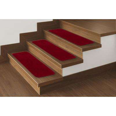 Softy Collection Red 9 in. x 26 in. Rubber Back Stair Tread Cover (Set of 7)